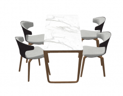 Marble table with 4 chairs sketchup