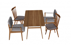 Wooden table with 2 armchairs 2 chairs sketchup