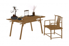 Wooden desk with chinese style with decoration and chair sketchup