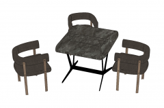 Marble square coffee table with 3 armchairs sketchup