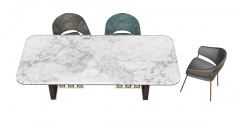 Marble desk with 3 chairs sketchup