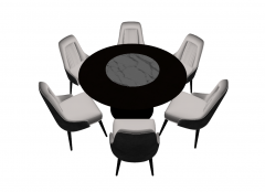 Dark coffee table with 6 chairs sketchup