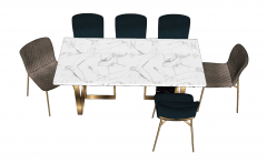 Rectangle marble table with 6 chairs sketchup