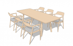 Wooden table with 6 armchairs sketchup