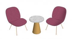 Circle sofa table with 2 chairs sketchup