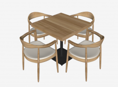 Wooden square table with 4 chairs sketchup
