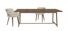 Rectangle meeting table with 2 armchairs sketchup
