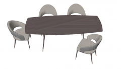 Wooden table with 4 chairs sketchup