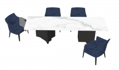 White marble desk with  4 navy chairs sketchup