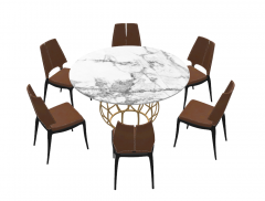 Marble circle table with 6 brown chairs sketchup