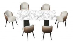 Marble rectangle table with 6 chairs sketchup
