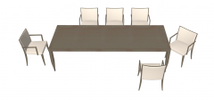 Wooden desk with 6 chairs sketchup