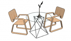 2 Cantilever chairs with circle coffee table sketchup