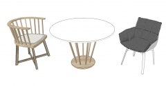 White wooden circle table with wooden chairs sketchup