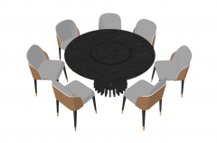 Dark wooden circle table  with 7 chairs sketchup