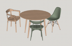 Circle wooden table with 3 chairs sketchup