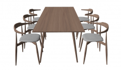 Wooden table with 6 chairs sketchup