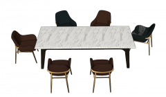 Marble table with 6 chairs sketchup