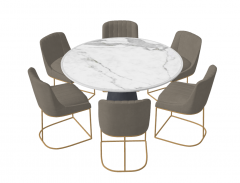 Marble circle table with 6 gray chairs sketchup
