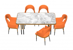 Marble table with 5 orange chairs sketchup