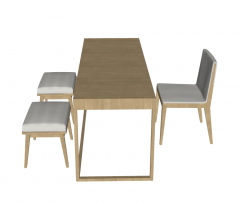 Wooden desk with office chairs sketchup