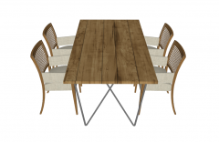 Wooden garden table with 4 chairs sketchup