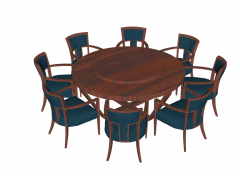 Wooden restaurant table with 8 chairs sketchup