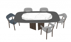 Table with marble center and 5 chairs sketchup