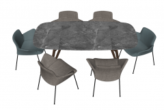 Gray marble table with chairs sketchup