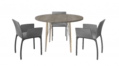 Circle table with 3 gray chairs sketchup