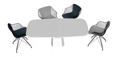 White wooden table with 4 chairs sketchup