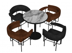Marble circle coffee table with 4 chairs sketchup