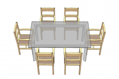 Glass rectangle table with  6 wooden chairs sketchup