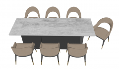 White rectangle table with 7 armchairs sketchup