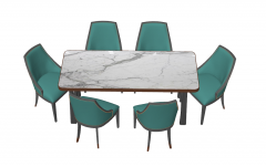 Marble table with 6 green chairs sketchup