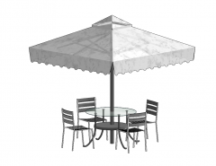Circle table with 4 chairs and umbrella sketchup