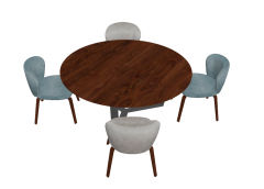 Wooden circle table with 4 chairs sketchup
