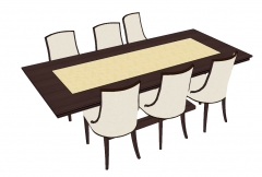 Wooden meeting table with 6 chairs sketchup
