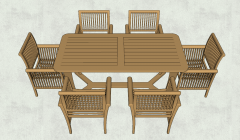 Bamboo table with 6 chairs sketchup