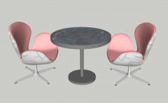Dark circle table with 2 armchairs sketchup