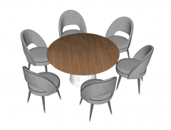 Circle table with 6 gray armchairs sketchup