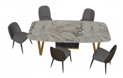 Marble table with 5 chairs sketchup