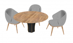 Wooden circle table with 3 gray chairs sketchup
