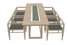 Wooden rectangle table with 6 chairs sketchup