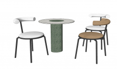 Wood stone table with 3 chairs sketchup