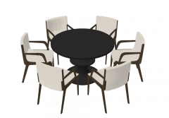 Dark circle table with 6 white chairs sketchup