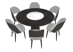 Dark circle table with center marble and 6 chairs sketchup