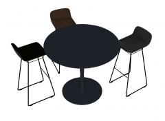 Dark circle bar table with 3 stools sketchup