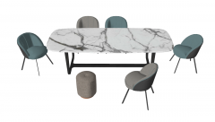 White marble table with 5 armchairs and chair sketchup