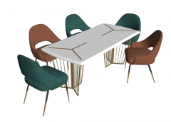 White marble table with 5 chairs sketchup